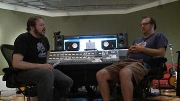 "Spaulding with producer and label manager Ed Valauskas on ""The Bubbler."""